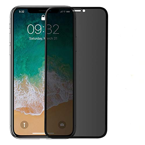 Anti-Privacy 3D Screen Protector Tempered Glass Compatible for iPhone X XS, Anti-Peeping 0.3mm Full Size Cover Curve Edge Shatterproof Dust-Proof Glass Film Compatible for iPhone 10 (Black)