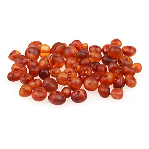 60 Loose Amber Beads - Raw Unpolished Cognac Color - 3-4mm Width - Pre-Drilled Holes Ready for Stringing Jewelry - Bulk DIY Supplies for Making Baltic Teething Necklaces, Bracelets & Jewelry