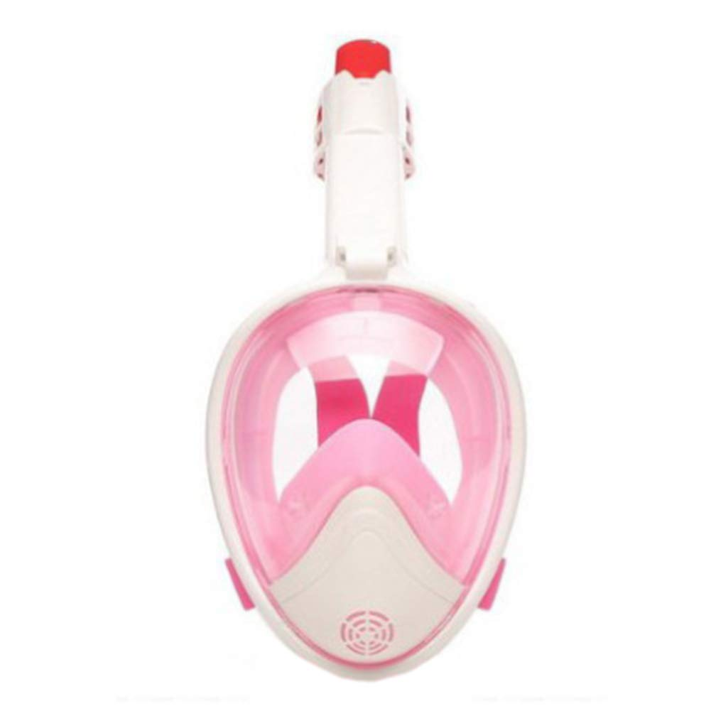 MFWFR Maschera per Snorkeling a Pieno Facciale, Vista Panoramica a 180 ° Maschera Subacquea Respirazione Facile con Anti-Fog e Anti-Leak Staccabile GoPro per Adulti, Bambini,rosa,L