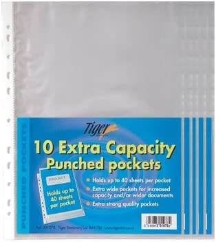 Good Quality Pack of 20 Extra Capacity 80 Micron A4 20mm Punched Pockets