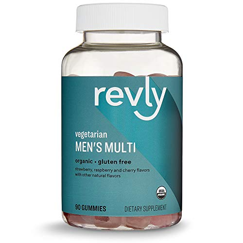 Amazon Brand – Revly Men's Formulated Organic Multivitamin, 90 Gummies (3 Gummies per Serving), Vegetarian, Gluten free, Certified Organic