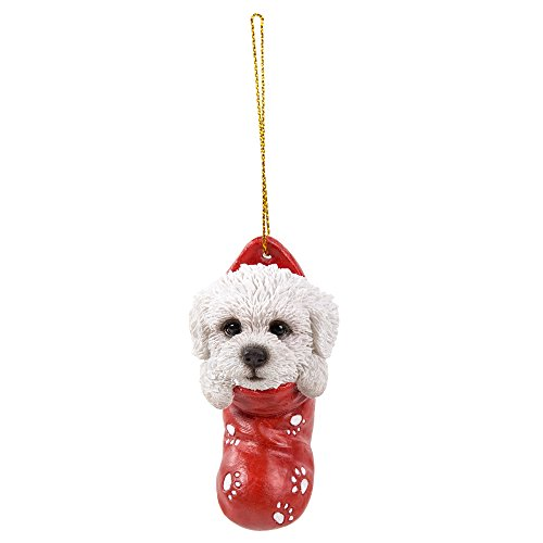 Pacific Giftware Bichon Frise in Holiday Sock Decorative Holiday Festive Christmas Hanging Ornament