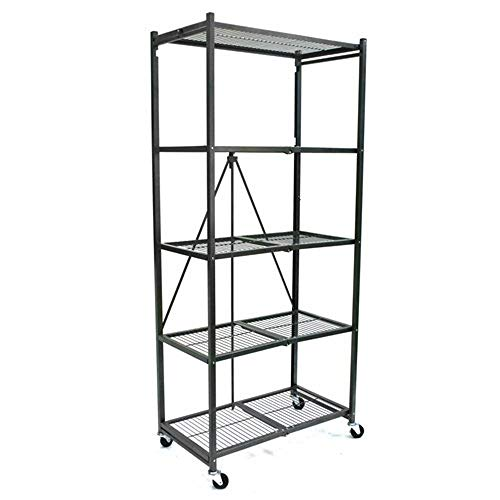 Origami R6-01HW 81 x 36 x 18 Inch Wheeled 5 Tier Folding Steel Shelving, Pewter