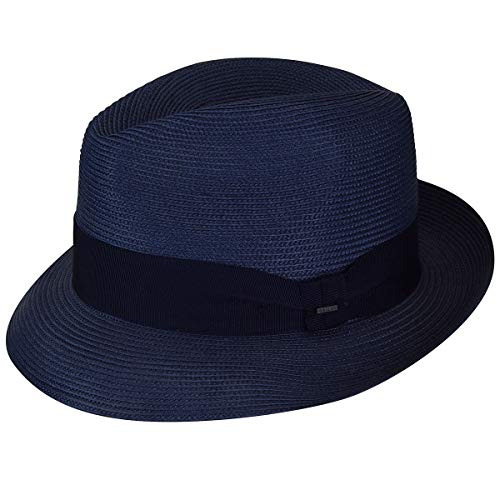 Bailey of Hollywood Men's Craig Braided Fedora Trilby Hat, Navy, ()