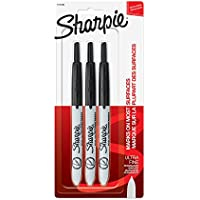 Sharpie Retractable Permanent Markers, Ultra Fine Point, Black, 3 Count, 3-Count, Standard Packaging
