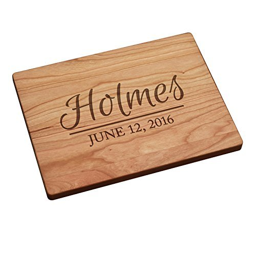 Personalized Cutting Board - Last Name with Date (large in center)