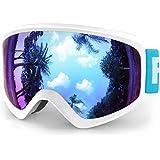 findway Kids Ski Goggles, Kids Snow Snowboard Snowboarding Sports Goggles Glasses - for Youth, Kids & Teenagers OTG Over Helmet Compatible - Anti-Fog 100% UV Protection, Anti-Glare Ski Goggles