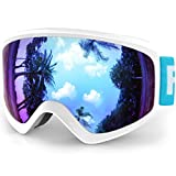 Findway Ski Goggles Kids - Children Junior Boys Girls Skiing Snow Snowboard Goggles for 3~12 Years Old - Anti-fog 100% UV Protection Over Glasses OTG Design Suitable For Skiing And Snowboarding