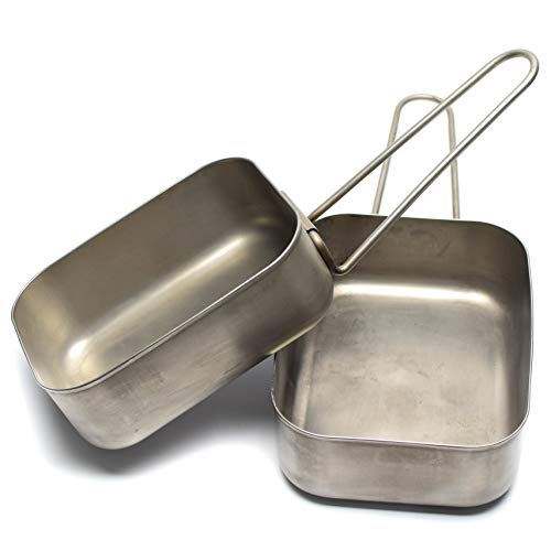 Stainless Surplus Steel (Original Dutch Army Stainless Steel Mess tins Mess kit Cooker Genuine Military Issue Two Piece kit)