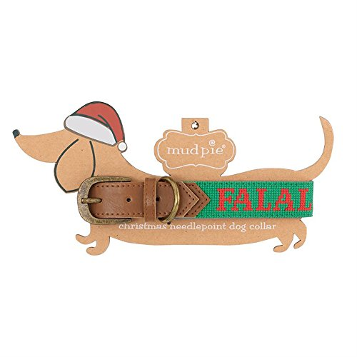 Pie Mud Styles (Mud Pie Christmas Themed Needlepoint Dog Collar (Small, Fa La La))