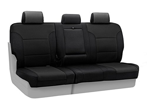 Coverking Custom Fit Rear 60/40 Split Folding Bench Seat Cover for Select Toyota Yaris Models - Neosupreme Solid (Black)