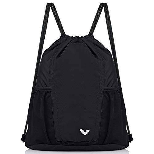 Vorspack Drawstring Backpack Gymsack Sport Sackpack with Bottle Holder Water Repellent String Bag for Men Women