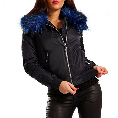 Donna blau Lunghe Fell Camicia Blau Basic Giacca fashion Maniche Young x1PHYwqn