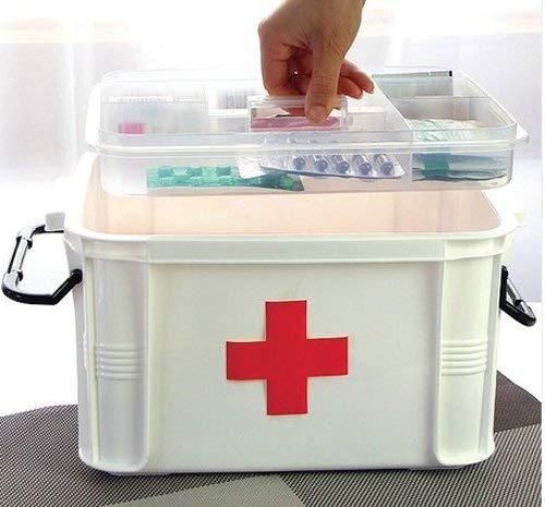 Caja de almacenaje multicapa medicina/botiquín 33 cm x 24 cm x 19 cm