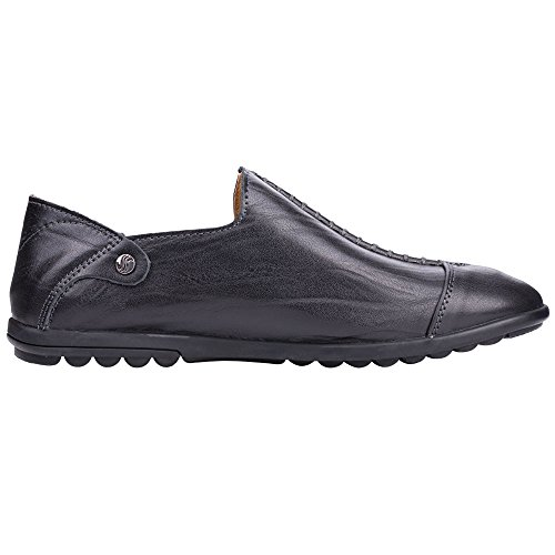 Mens Slip Black Driving Flat Shoes Fashion Loafers On Casual Robasiom dqz7wXd