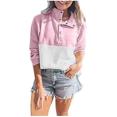 KLFGJ Damen Winter übergroße Pullover mit Taste Lose Stehkragen Warm Gestrickter Oversize Pullover Freizeit Frauen Sweatshirt Tops Streetwear(Pink,EU-46/CN-2XL)