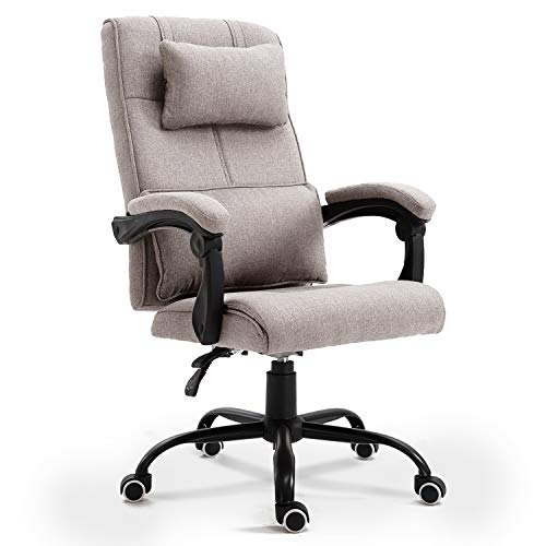High Back Fabric Office Chair Reclining Swivel Executive Chair Ergonomic Design for Lumbar Support and Head Support(Light Grey)