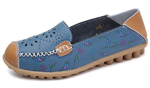 Aisun Women's Fashion Pint Flowers Cap Toe Seam Thread Loafers Dark Blue