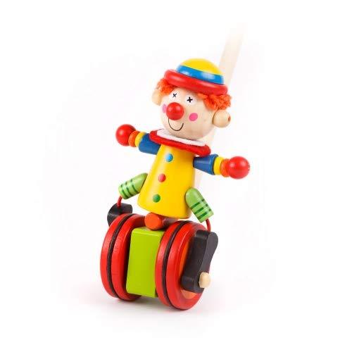 Brink Holzspielzeug SchiebefigurClown Schiebe-Tier auf R/ädern Kleinkind Schiebe-Laufrad mit Lauf-Stock