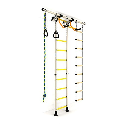 Indoor Kids Playground Play Set / White Training Gym Sport Set with Accessories Equipment: Climber, Rope ladder, Rope and Gymnastic Rings / Suit for Apartment, School and Playroom / Carousel R55