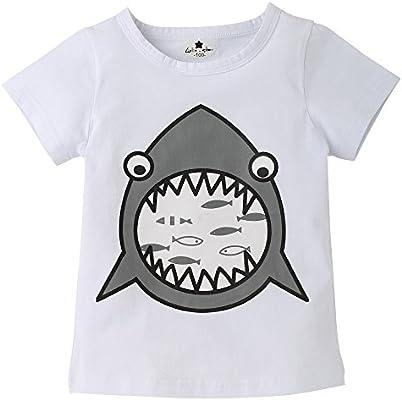 feiXIANG Ropa de bebé recién Nacido Niños Primavera Verano Niños Niñas Bebés  Niños Niños Camiseta de Manga Corta con Estampado de Tiburones de Dibujos  ... 916e3002c1e5