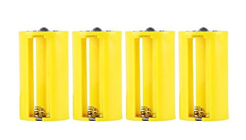 Whizzotech Parallel AA to D Battery Adapters Holder 1.5V Output Case Box 3 AA To 1 D Converter pack of 4 (Yellow)