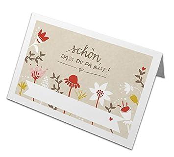 50 Tischkarten Schon Dass Du Da Bist Creme Mit Bunten Blumen