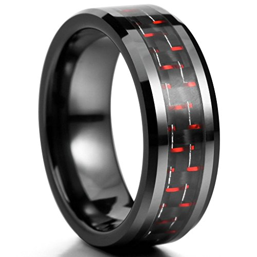 [MoAndy Jewelry Mens 8mm Ceramic Carbon Rings Comfort Fit Band Black Red Wedding Polished Unique Size] (Plus Size Easter Bunny Costumes)