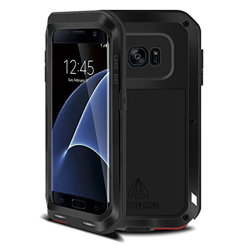 Galaxy s7 edge case,Feitenn Shockproof Dust/Dirt/Snow Proof heavy duty Aluminum Metal Military Protection Case for S7 edge Tempered glass as gift (Black)
