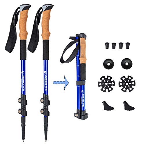 Aihoye Trekking Poles Collapsible Lightweight Hiking Poles 7075 Aluminum Anti-Shock Retractable Walking Sticks with Quick Flip-Lock and Cork Grips-2 Pack