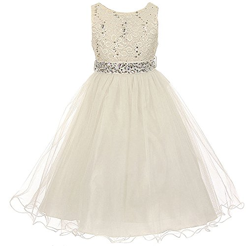 Big Girls Sleeveless Dress Glitters Sequined Bodice Double Layer Tulle Skirt Rhinestones Sash Flower Girl Dress Ivory - Size 10