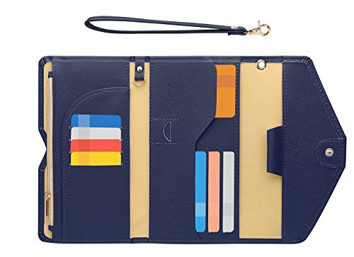 Zoppen Passport Holder Travel Wallet (Ver.5) for Women Rfid Blocking Multi-purpose Passport Cover Document Organizer Strap,Navy Blue