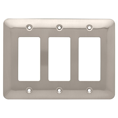 Franklin Brass W17956-SN-C Stamped Round Triple Decorator Wall Plate/Switch Plate/Cover, Satin Nickel ()