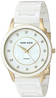Anne Klein Women's AK/2392GPWT Diamond-Accented Gold-Tone and White Ceramic Bracelet Watch