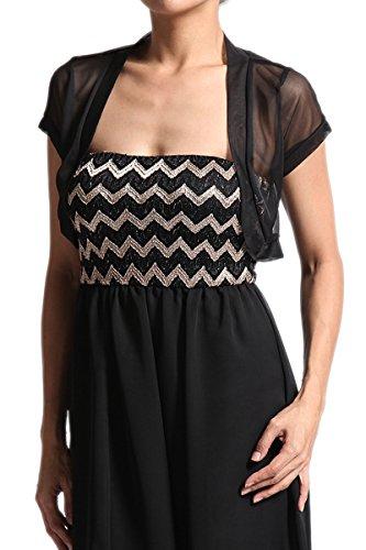 Sleeve Black Short Sheer (TheMogan Women's Sheer Mesh Short Sleeve Bolero Open Cardigan Black 1XL)