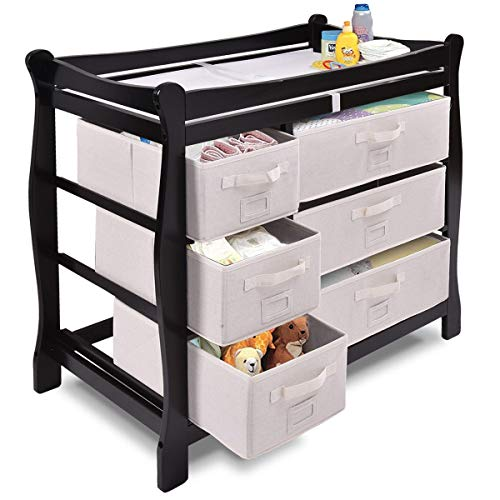 LHONE Baby Changing Table Sleigh Style Natural Wood Compact Changing Table Dresser with 6 Basket Drawers (Black)