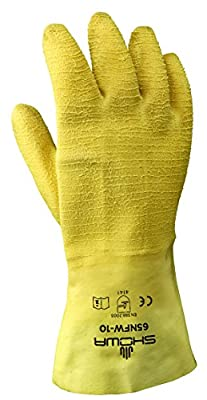 Showa 65NFW-10 Cut Resistant Yellow Natural Rubber Fully Coated Work Gloves, Pair