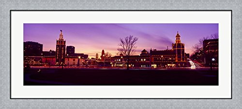 Buildings in a city, Country Club Plaza, Kansas City, Jackson County, Missouri, USA by Panoramic Images Framed Art Print Wall Picture, Flat Silver Frame, 44 x 20 - County Club Plaza