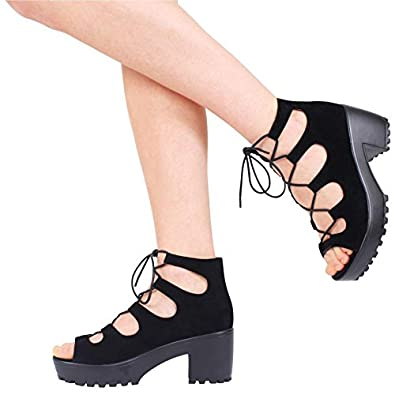 aaf9aabfade4 NEW WOMENS LADIES CHUNKY CLEATED SOLE PLATFORM LACE UP BLOCK HEEL SHOES  SIZE 3-8  Amazon.co.uk  Shoes   Bags