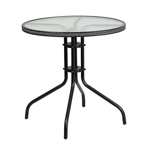 Flash Furniture 28'' Round Tempered Glass Metal Table with Gray Rattan Edging (Table Bistro Black Glass)