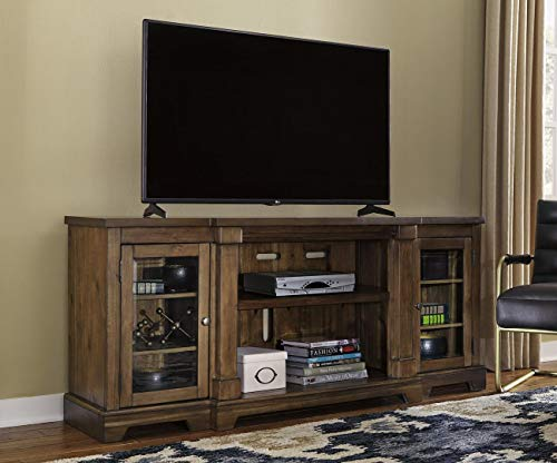 Signature Design by Ashley W719-68 Ashley Furniture Signature Design-Flynnter TV Stand with Fireplace Option, Medium Brown