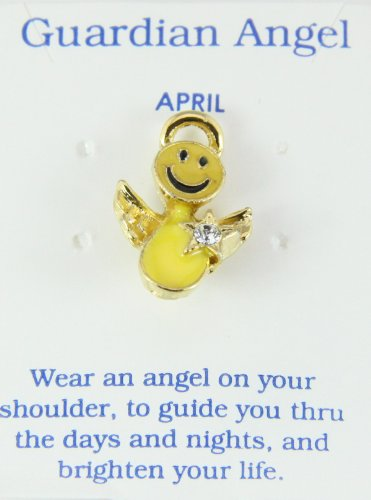 6030434 April Birth Month Smiley Face Angel Lapel Pin Brooch Tie Tack Be Happy Don't Worry (April Birthstone Angel Pin)