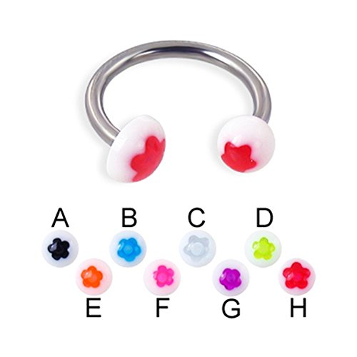 MsPiercing Flower Ball And Half Ball Titanium Circular Barbell, 14 Ga, Ball Size:1/4
