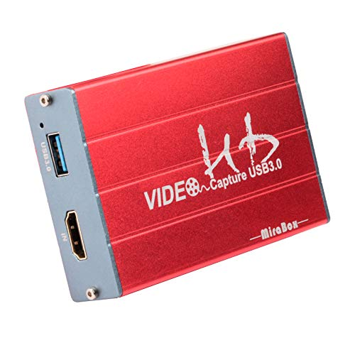 Mirabox Capture Card,USB 3.0 HDMI Game Capture Card Device Support HD Video HDCP 1080P Windows 7 8 10 Linux YouTube OBS Twitch for PS3 PS4 Xbox Wii U Streaming and Recording, HSV322