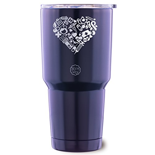 Nurse Heart Stainless Steel Tumbler with Lid - Large 30 oz Vacuum Insulated Travel Mug - Funny Tumblers for Hot Coffee and Cold Drinks - Premium Gifts for Men Women - Travel Mug Heart