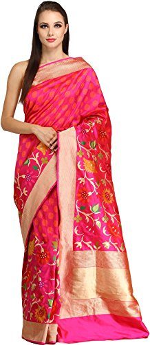 Exotic India Magenta-Pink Banaras Sari with Kadhwa Floral Weave and Zari Striped (Pink Indian Sari Adult Costume)