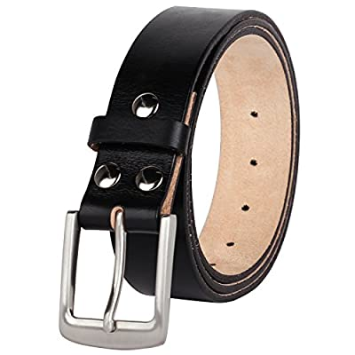 NPET Mens Full-Grain Leather Dress Belt Genuine Leather Belt