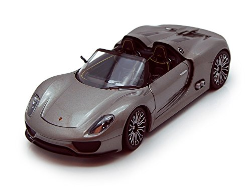 Welly Porsche 918 Spyder Convertible, Gray 24031 - 1/24 scale Diecast Model Toy Car, but NO BOX (Model Porsche Gray)