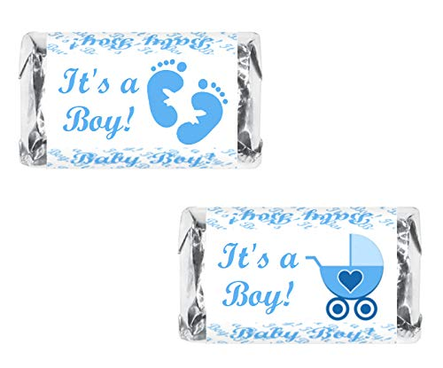 RokAPary 60 Blue Its a Boy Baby Shower Miniatures Candy Bar Wrapper, Baby Shower Miniatures Candy Bar Stickers (Miniature Shower Baby Wrappers Candy)