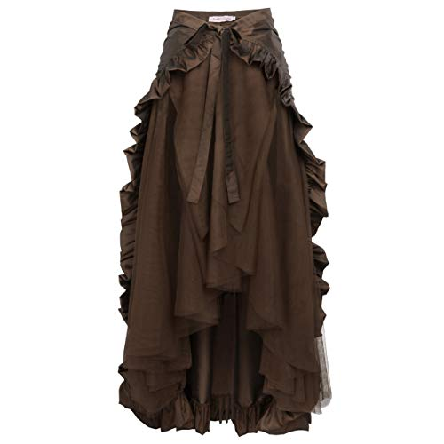 Woman's Lace Pirate Costume Clothes Gothic Steampunk Clothing Skirt Lace Up Victorian Skirt Chocolate XX-Large (Punk Women Dress)
